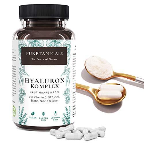 Acide Hyaluronique Capsules Haute Dose Test en Laboratoire - Gélules 350 mg Hyaluron + Vitamine C B12 Zinc Biotine Niacine Sélénium   Anti-âge Peau Cheveux Ongles   Végan 500-700 kDa   Allemagne