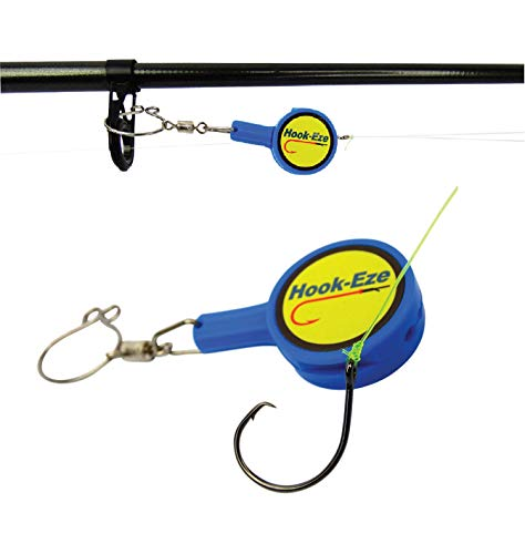 HookEze Fishing Tool Blue Hook Tying amp Safety Device  Line Cutter  Cover Hooks on 2 Poles amp Travel Safely fully rigged Multi function Fishing Device