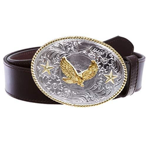 Western Cowboy - Cinturón de piel con diseño de águila - Marrón - 34