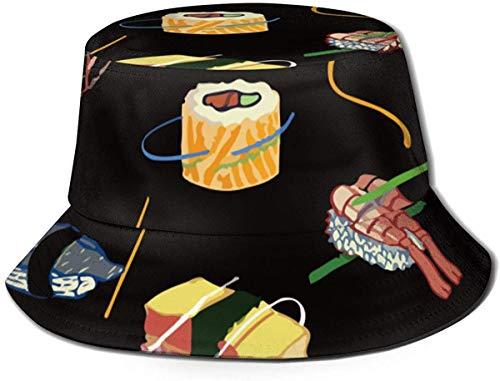 Sombrero de Cubo de Viaje con Estampado de Flores Vintage Unisex, Gorra de Pescador de Verano, Sombrero para el Sol, Sushi, Comida Japonesa, Ziplock
