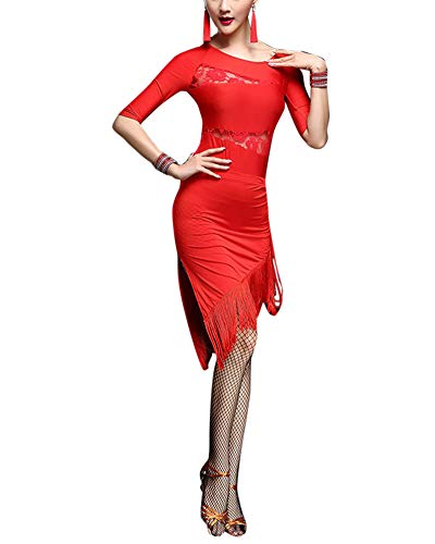 Mengmiao Damen Halbe Ärmel Lateinischer Tanz Kostüme Tango Party Wettbewerb Fringed Hem Kleiden Rot XL