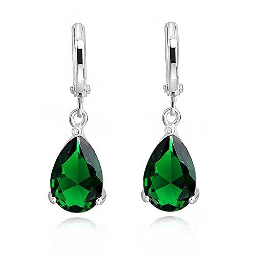 Lágrimas Pendientes con Esmeralda simulada verde Cristales austríaco