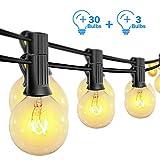 Catena Luminosa Esterno, Lampadine G40 Vintage Edison 30 Prese, Luci a Sospensione da Interno/Esterno per Patio Giardino Cortile Bistrot Pergola Gazebo Arredamento (Bianco Caldo)