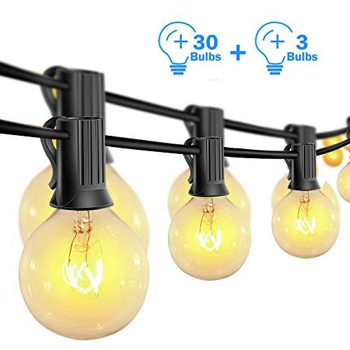 Lichterkette Außen,G40 Vintage Edison Lampen 30 hängende Fassungen, hängende Indoor/Outdoor Lichterketten für Patio Garten Hinterhof Bistro Pergola Pavillon Dekor (warmweiß)
