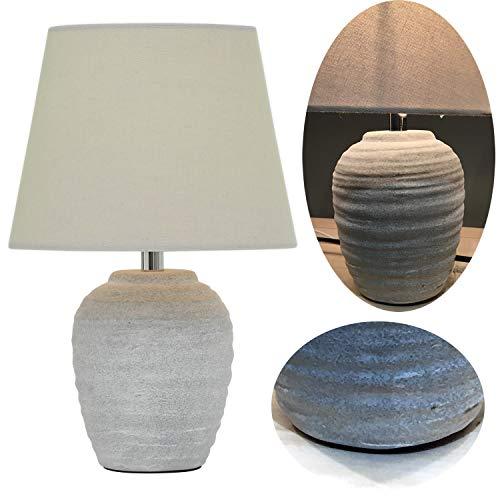 LS-LebenStil Tischlampe Porzellan Rantum Weiß Grau 33cm Tischleuchte Nachttisch-Lampe