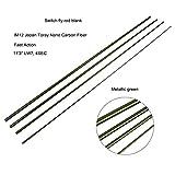 NO LOGO LM-DIAOYUCZ, 11'3 '' LW7 IM12 Nano Carbon Switch Fliegenrutenrohlinge 4 Abschnitte Schnelle Aktion Fliegenruten Blank Metallic Green (Size : 11FT3IN LW7)