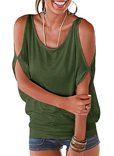 Camiseta para mujer de manga corta y hombros...