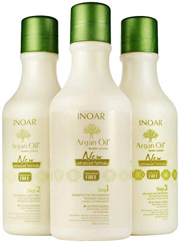 INOAR PROFESSIONAL - Argan Oil Smoothing System - For Dry and Uncontrollable Hair (Includes: Deep Cleansing Shampoo, Smoothing Treatment & Reconstructing Balm) (8.5 oz)