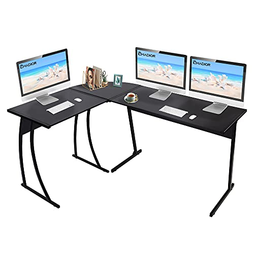 CHADIOR L Shaped Corner Computer Gaming Desk 58' L x 44' W Modern Workstation Table for Small Space Home Office, Black
