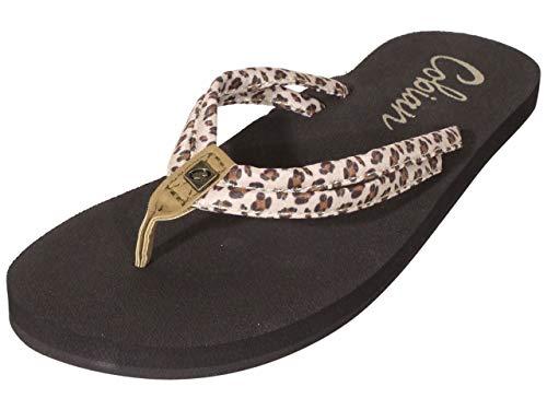 Cobian Women's Soleil Leopard Flip Flops, 9