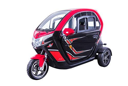 Scooter Electrico Adulto 3 ruedas Movilidad reducida Coche eléctrico Ciclomotor 45km/h ROJO