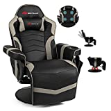 Powerstone Gaming Recliner Massage Sofa Ergonomic PU Leather Gaming Chair with Footrest Cup Holder Headrest and Side Pouch, Living Room Chair Home Theater Seating (Grey)