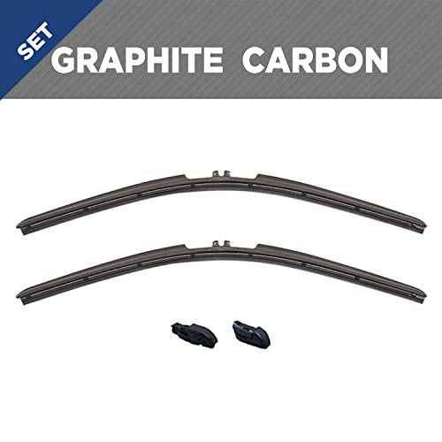 """Clix Wipers - Graphite Carbon Fiber Truck Wiper Blades - Clip On Replacement Windshield-Wipers For Select GMC, Ford, Dodge, and Chevrolet Pickups - All-Weather - Wiper Blade Set (22""""/22"""")"""