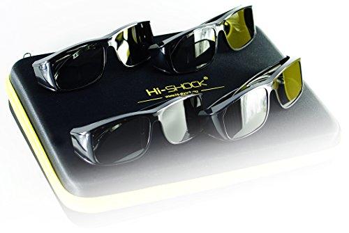 Hi-SHOCK® 4x universal pasivo 3D gafas para todos pasivo 4k 3D TVs & RealD Cine películas. alta calidad polarizada gafas para Sony®, LG®, Hisense®, Grundig®, Pansonic®, Philips®, Toshiba® televisión. Comp. con LG 3D cinema, Philips Easy 3D, Toshiba 3D natural, Vizio | Comp con TY-EP3D20E / Sony TDG500P / LG AG-F315 inkl. Quad Case [ 4 pares | 3D pasivo| caso ]