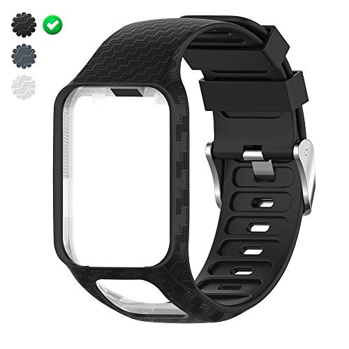 "CharmingElf Band Compatible with Tomtom Spark 3/Runner 2 3/Golfer 2/Adventurer,Silicone Watch Strap Replacement,for Man Women (6.11"""" (15.5 cm) to 8.66""""(22 cm), A01 Black-Moire)"