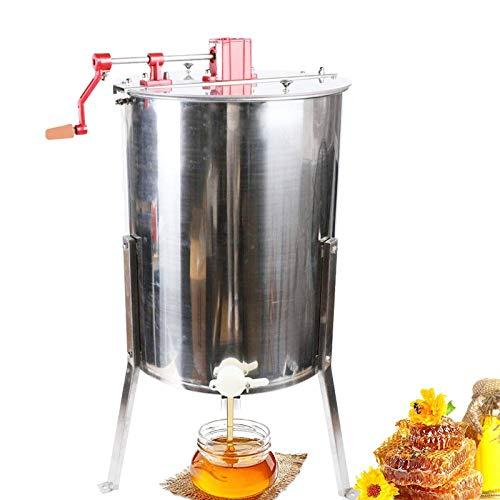Fetcoi Extractor de miel manual de acero inoxidable – 4 marcos Extractor de miel de apicultura centrifugadora de apicultura Accesorio para la apicultura Conformidad Bee