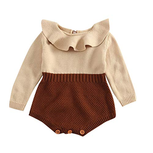 BeautyTop BeautyTop Kleinkind Neugeborenen Mädchen Baby Gestrickten Pullover Winter Warme Prinzessin Strampler Overall Kleidung Outfit (Gelb, 60/0-3 Monate)