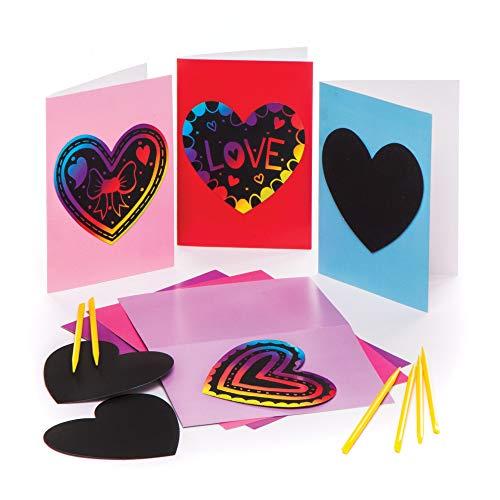 """Baker Ross Kratzbild-Karten """"Herz"""" (6 Stück) – für Kinder zum Gestalten, Dekorieren und Verschenken zum Valentinstag und Muttertag"""
