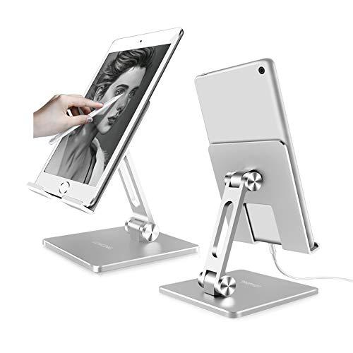 LONGING Supporto Tablet, Alluminio Supporto Regolabile per iPad PRO 9,7 10,5 12,9 Air 2 3 4 Mini 1 2 3 4 Pieghevole Stand Dock per iPhone Samsung Tab Blackview Switch Tablets 8~13 Pollici -Argento