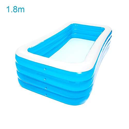 Chlius - Piscina hinchable para familias y familias hinchables rectangulares engrosados, piscina infantil, centro de natación familiar para niños y adultos al aire libre, azul, 1.8米四层