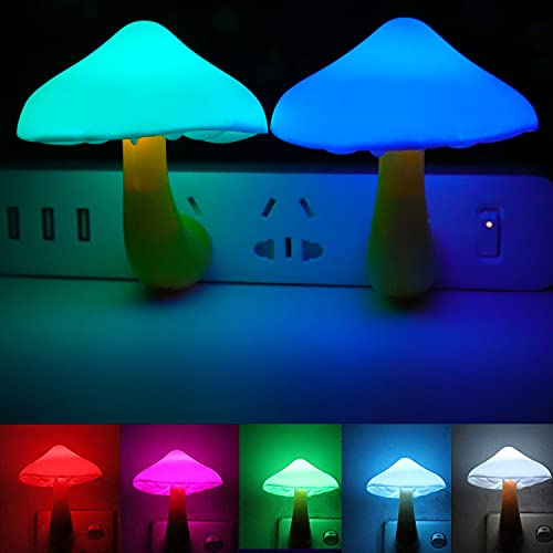 AUSAYE 2Pack LED Night Light Plug in Lamp 7-Color Changing Cute Mushroom Light Sensor Night Lights for Adults Kids NightLight