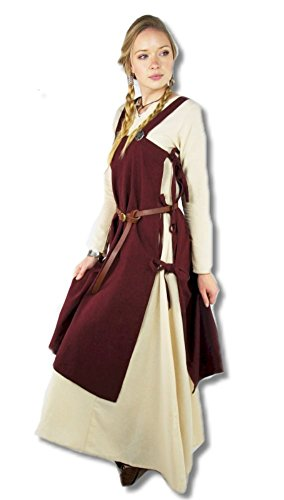Leonardo Carbone Mittelalter Marktkleid - Damen Mittelalterüberkleid Wikinger Vin L/XL/rot