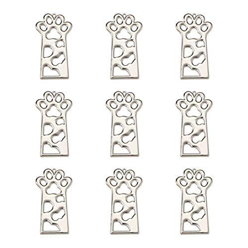 Beadthoven - 10 colgantes de aleación con diseño de pata de gato y perro, con marco de flores huecas prensadas para hacer collares de resina (platino)