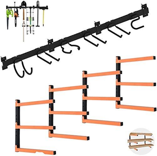 Homydom Wood Organizer and Lumber Storage Metal Rack & Garage Storage System Utility Organizer Wall Amount with Hooks