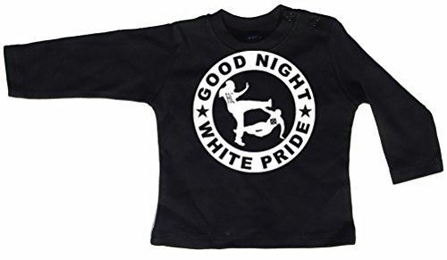 Racker-n-Roll Good Night White Pride shirt met lange mouwen baby-shirt met lange mouwen zwart
