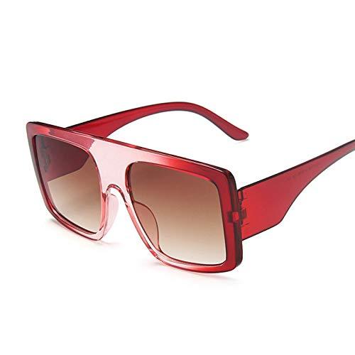 NJJX Gafas De Sol Cuadradas De Gran Tamaño De Lujo Para Mujer, Gafas De Sol Con Parte Superior Plana Grandes A La Moda, Montura Grande Para Mujer, Vintage Redbrown