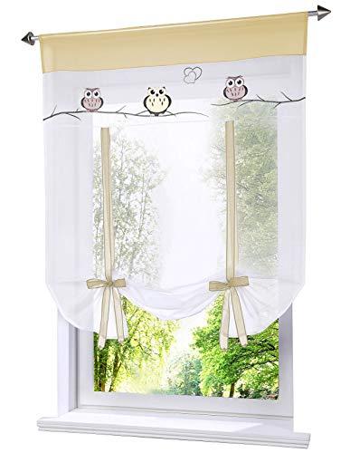 LiYa Raffrollo mit Eule Stickerei Band Raffgardinen Voile Transparent Vorhang (BxH 80x140cm, Sand)