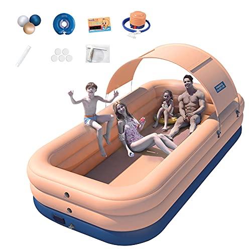 HT&PJ Piscina hinchable para niños, sin cable, con toldo de PVC, gran piscina familiar para niños y adultos, piscina de patio trasero, fiesta acuática al aire libre