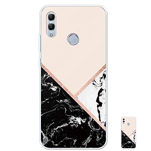 HopMore Silicone Coque pour Huawei P Smart 2019 / Honor 10 Lite Souple Motif Marbre Bumper Marble Belle Coque Protection, Etui Antichoc Antidérapant Housse pour Fille Femme Homme - Rose Noir Blanc