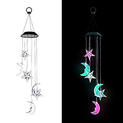 Outdoor Hanging Solar Power Wind Chimes with Color-Changing Lights (Moon and Stars)
