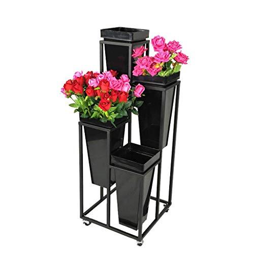 DBSCD Puesto De Flores,Soporte de macetas para Plantas Paquete de 4 macetas Soporte para macetas de jardín Soporte para macetas de Hierro con Rueda Incluye macetas de arado Altura: 105 cm