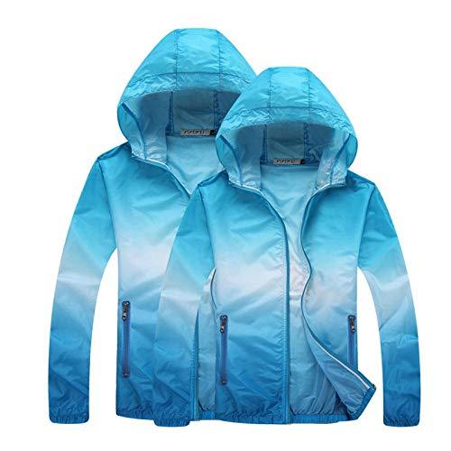 XXNSWD Outdoor Running Vestes Dégradé Imprimer pour les Femmes Hommes Mince de la Peau de Sport Manteau à Capuchon Cardigan Séchage Rapide Protection Solaire - Bleu - L