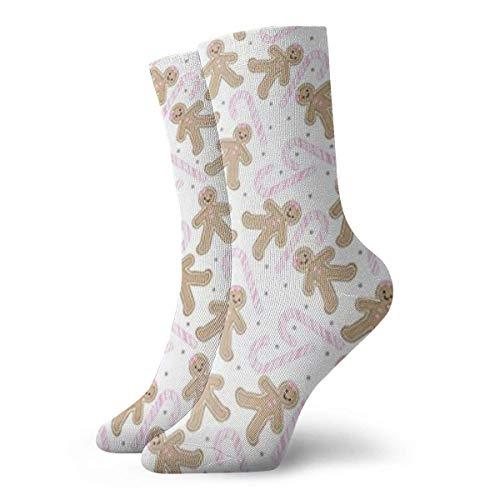 QUEMIN Calcetines Transpirable Gingerbread Girl con Pink Candycane Crew Calcetines Exticos Modernos para Mujeres y Hombres Impresos Calcetines Deportivos Deportivos 30 cm (11.8 pulgadas)