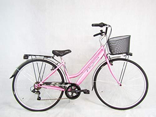 bicicletta donna bici da passeggio city bike 28 trekking colore rosa Daytona