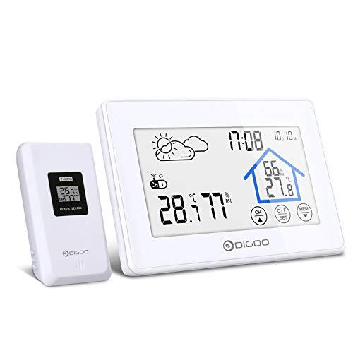 DIGOO Station Météo Intérieure Extérieure sans Fil avec Capteur LED Ecran Horloge Numérique Thermomètre Hygromètre Moniteur...