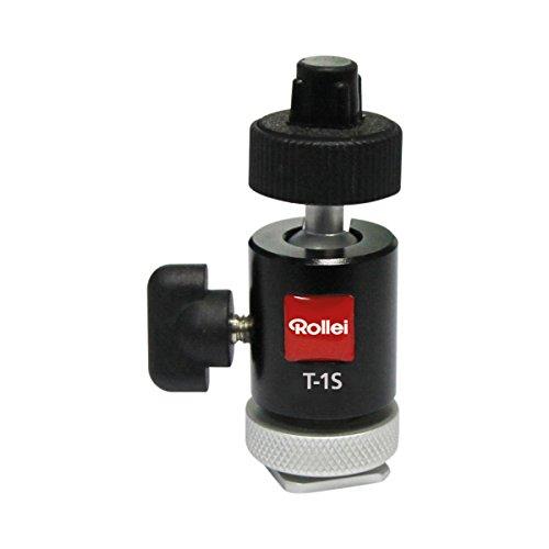 Rollei T-1S - kompakter Kugelkopf mit Blitzschuh-Montage-Adapter und maximaler Traglast von 1,5 kg, ideal für DSC Kameras, kleine Digitalkameras und Rollei und GoPro Actioncams - Schwarz