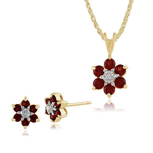 Gemondo 9ct Oro Giallo Granato & Diamante Orecchini A Lobo A Grappolo & 45cm Collana Set
