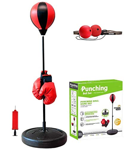 TOCO FREIDO Speed Punching Bag with Boxing Reflex Ball for Kids, Adjustable Punching Bag Set with Stand, Boxing Gloves, Pump, Reflex Ball, Great for Great Exercise & Fun Activity for Kids