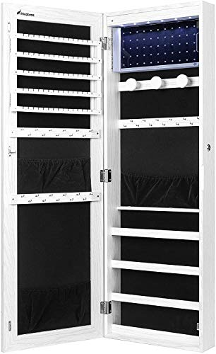 Tempusort Jewelry Armoire Organizer, Wall/Door Mounted Jewelry Cabinet with Full Length Mirror