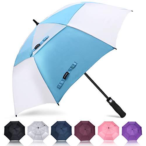 ZOMAKE Automatisches Öffnen Golf Regenschirm 172,7 cm Oversize Extra Groß Double Canopy belüftet Winddicht wasserdicht Stick Schirme(Hellblau/Weiß)