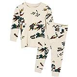 Unifriend 30s 伸縮性のある長袖 男児 キッズ パジャマ オーガニック 綿100% 子供 ルームウェア ねまき 上下セット (ブルーサンダー -90cm)