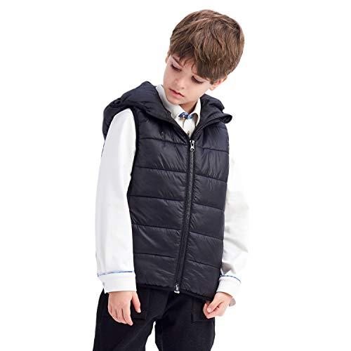 IKALI Chaleco acolchado de invierno para niños, chaleco sin mangas con capucha para niños pequeños, prendas de vestir ligeras y cálidas resistentes al agua con bolsillos