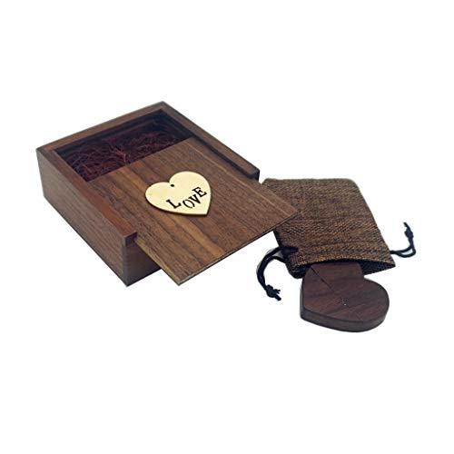 Luckcrrazy USB-Stick, 32 GB, Walnuss, Herz, USB-Stick, USB-Speicherstick aus Holz, mit Geschenkbox