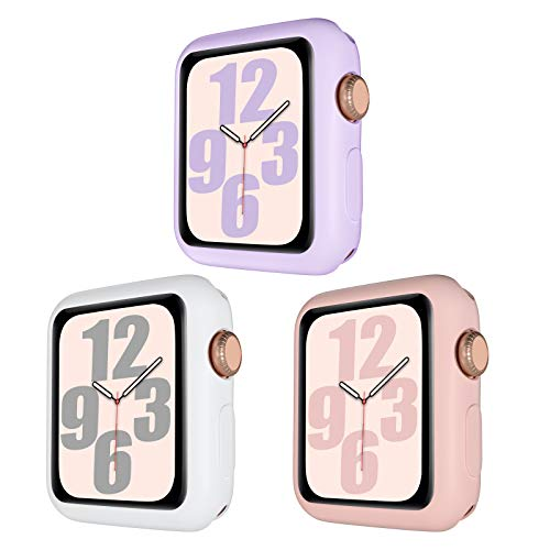 youmaofa Custodia Compatibile con Apple Watch Series 3/2/1 38mm, Flessibile TPU Antiurto Paraurti Custodia Protettiva Cover per Apple Watch 38mm Series 3/2/1, Bianco/Lavanda/Rosa