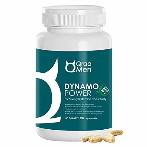 Qraa Men Dynamo Power Capsules for Men I Helps restore stamina and vitality, supports immunity I 100% ayurvedic ingredients I 30 veg capsules