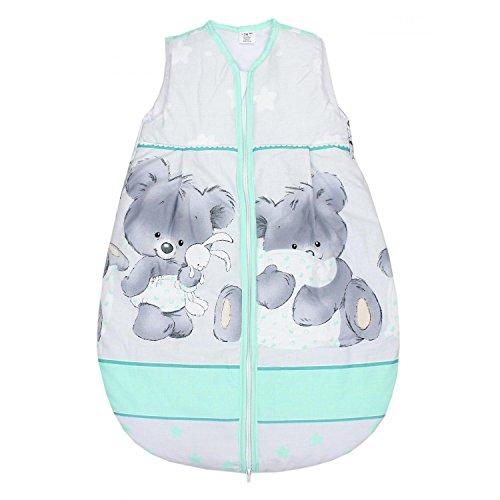 TupTam Baby Unisex Schlafsack Ärmellos Wattiert, Farbe: Bärchen Grau/Grün, Größe: 80-86